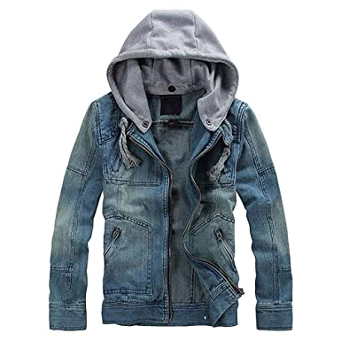 6d8e8f31936 Innerternet Men Coat Autumn Winter Denim Long Sleeve Detachable Hoodie  Jacket Coat Top Blouse Plus Size Sport Tee Shirt Polo Winter Jacket   Amazon.co.uk  ...