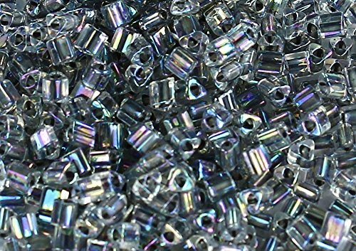 11/0 Triangle TOHO Japanese Glass Seed Beads #783-Rainbow Crystal/Opaque Gray 15g