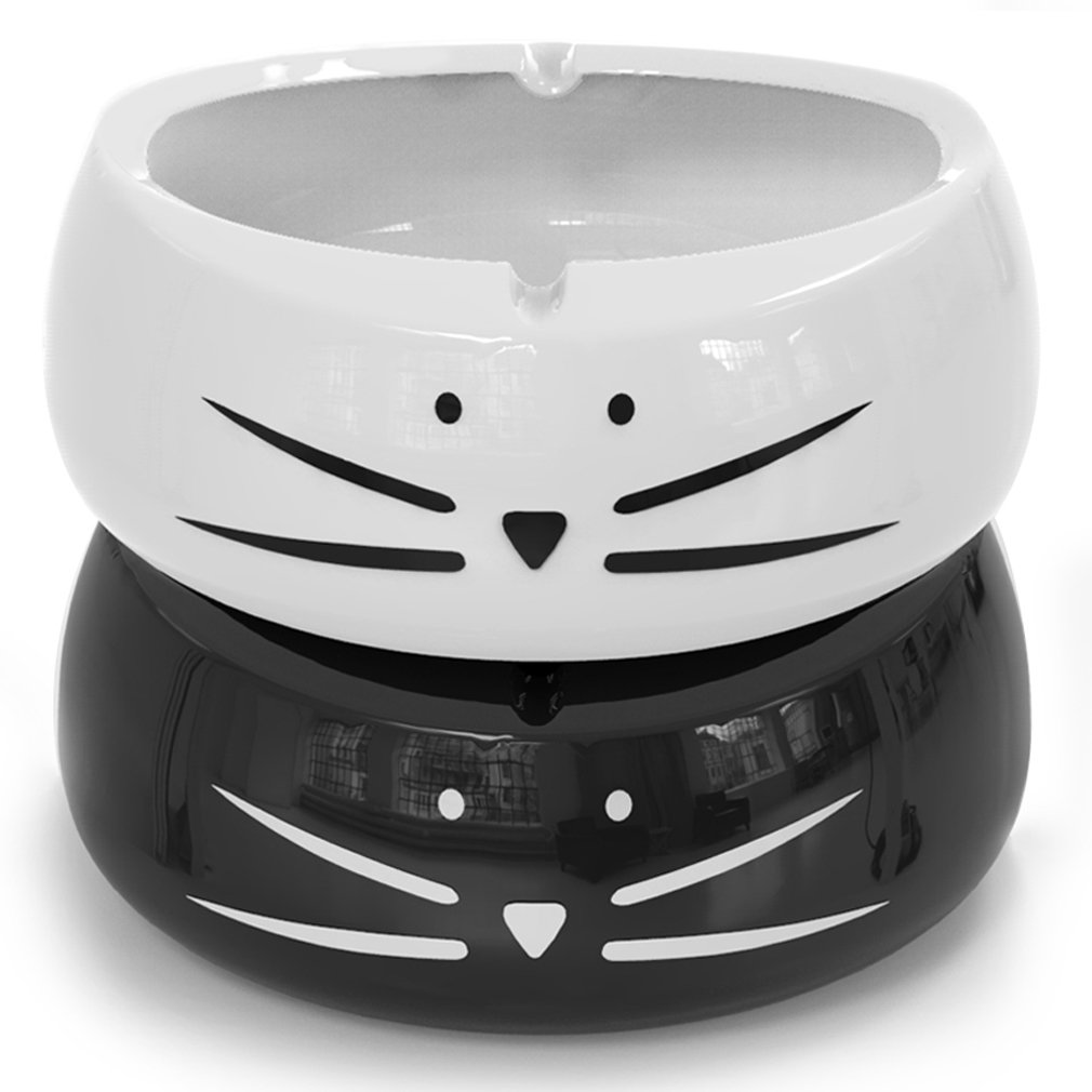 Koolkatkoo Cute Cat Cigarette Ashtray Indoor or Outdoor Use Ceramic Ash Holder for Smokers Girls Women, Decorative Ashtrays for Home Office Cat Lover Ash Tray Black and White by Koolkatkoo