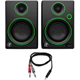 "Mackie CR Series 3"" Creative Reference Multimedia Monitors (Pair) (CR3) with Monoprice 1/8"" TRS Male to Two 1/4"" TS Male Cable, 3 Feet"