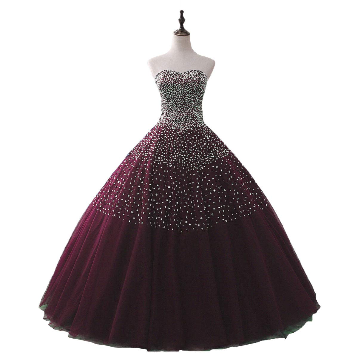 Burgundy Liaoye Women's Sweetheart Beaded Girls Quinceanera Dresses Tulle Prom Wedding Ball Gown