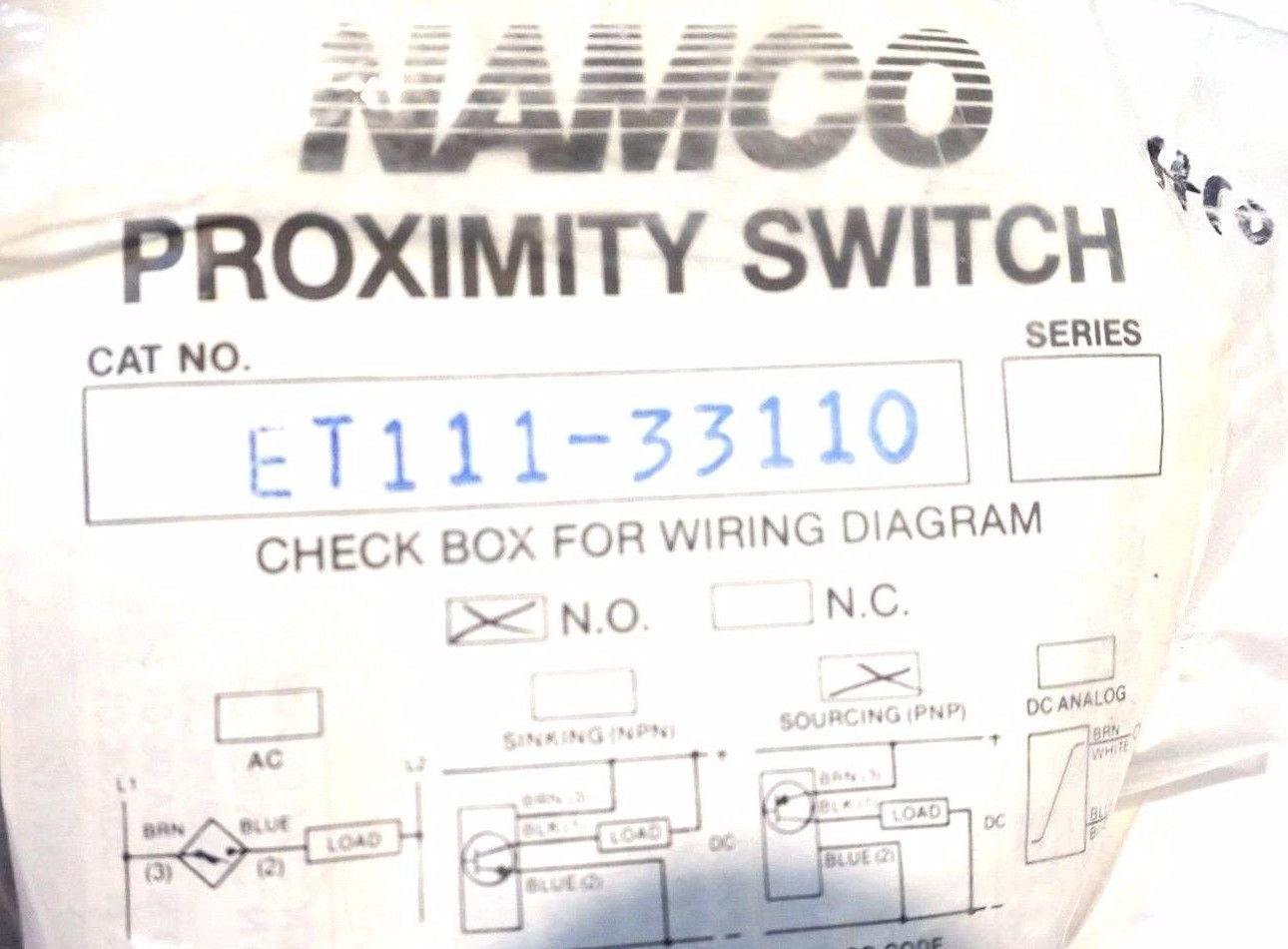 New Namco Et111 33110 Proximity Switch Et11133110 Pnp Prox Wiring Diagram Industrial Scientific
