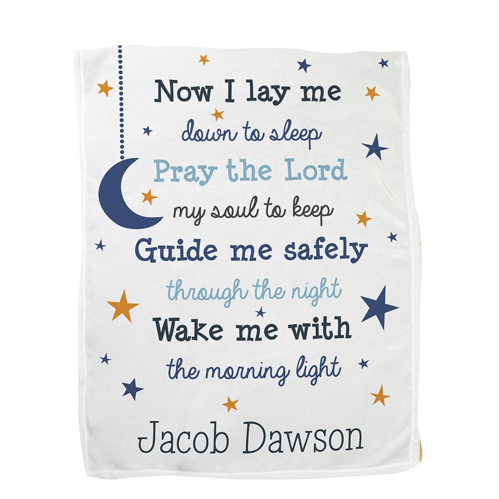 GiftsForYouNow Now I Lay Me Personalized Fleece Baby Blanket, Blue by GiftsForYouNow