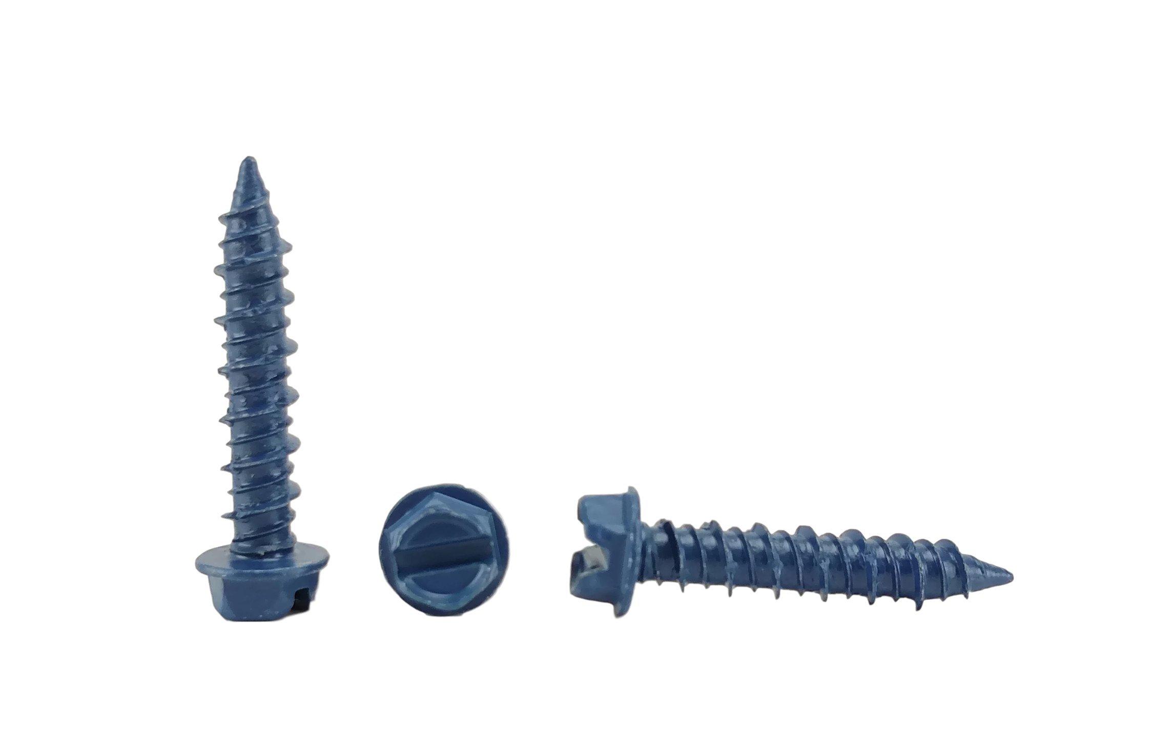 Chenango Supply 1/4 x 1-1/4'' Hex Head Concrete Screw Anchor. 100 pieces With Drill Bit (Miami-Dade Compliant) (1/4 x 1-1/4)