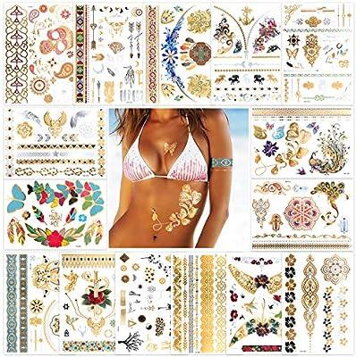 Konsait Tatuajes temporales para adultos mujer Niño (15 hojas ...