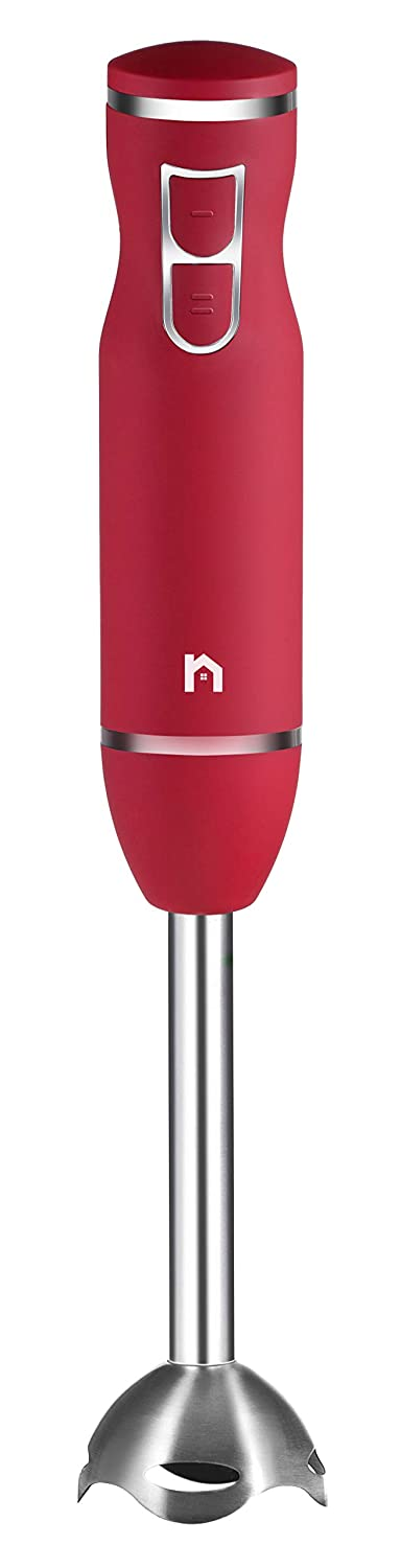 New House Kitchen Immersion Hand Blender, 2 Speed Stick Mixer with Stainless Steel Shaft & Blade, 300 Watts Easily Purees Food, Mixes Sauces, Purees Soups, Smoothies, and Dips, Red