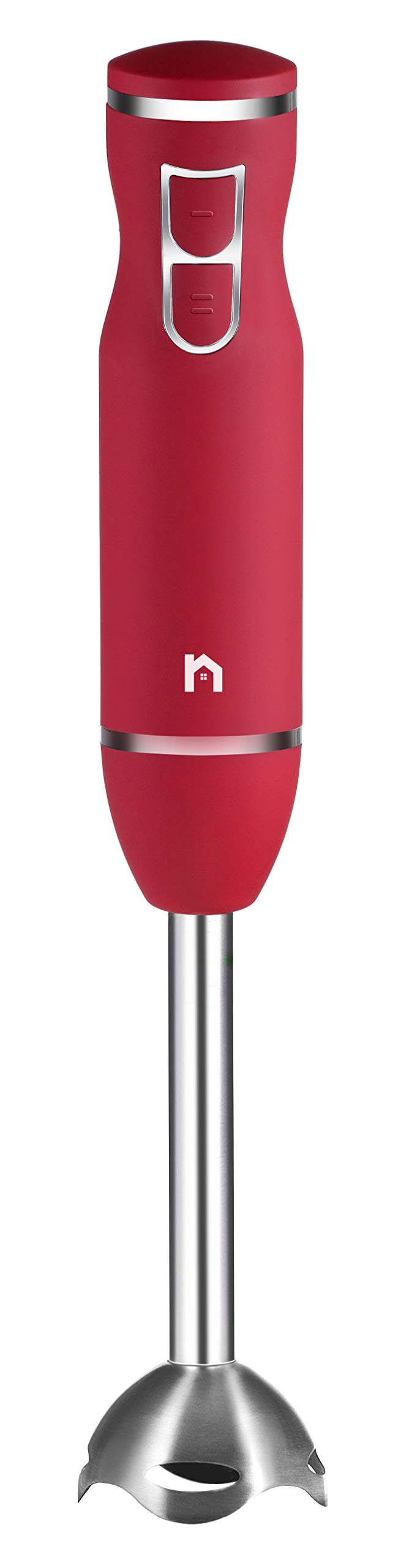 New House Kitchen Immersion Hand Blender 2 Speed Stick Mixer with Stainless Steel Shaft & Blade, 300 Watts Easily Food, Mixes Sauces, Purees Soups, Smoothies, and Dips, Red by New House Kitchen