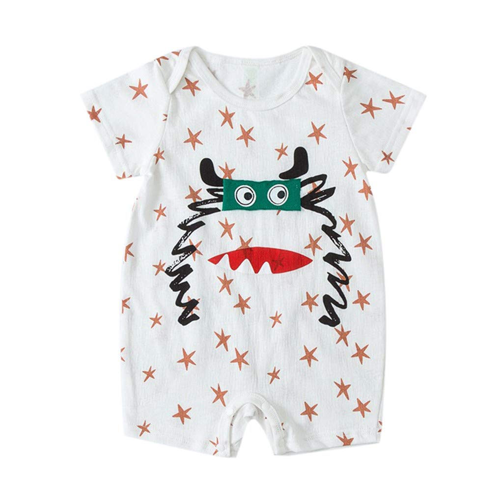 NUWFOR NewbornBaby Boy Kids Girls Cartoon Infant Summer Rompers Outfits Clothes(White,12-18Months)