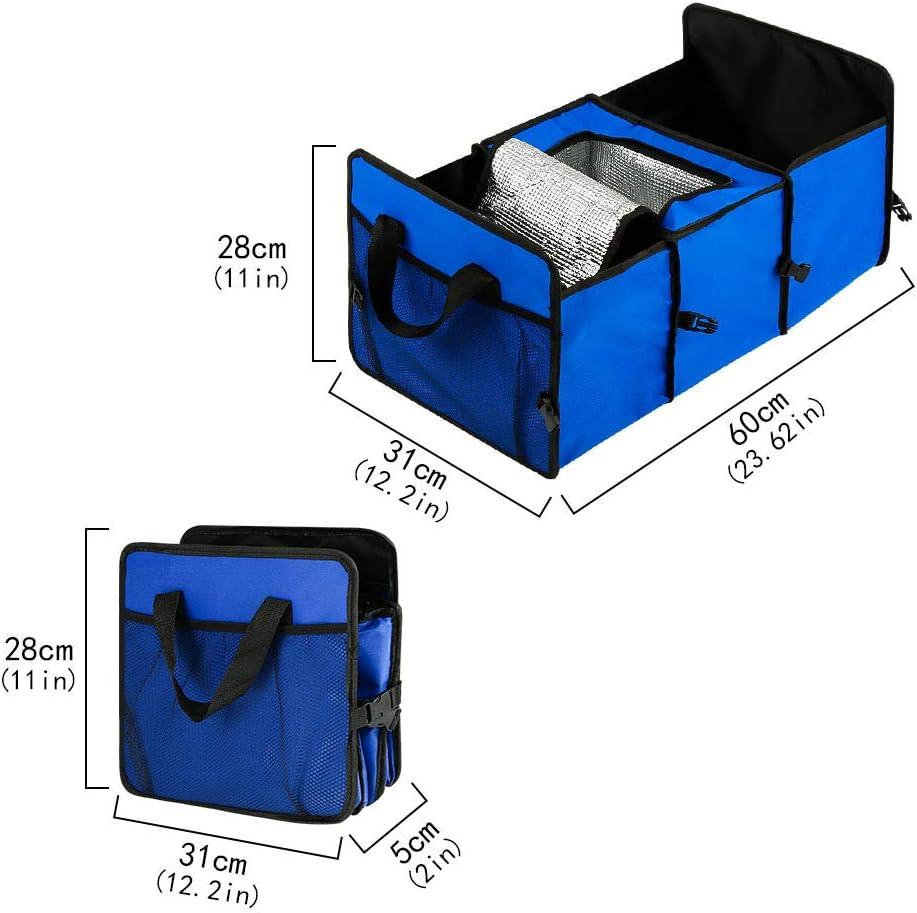 Tagaremuser Car Boot Organizer Faltbarer Kofferraum Organizer Mehrzweck-Aufbewahrungstasche mit K/ühler und Isolierfach Geeignet f/ür PKW SUV