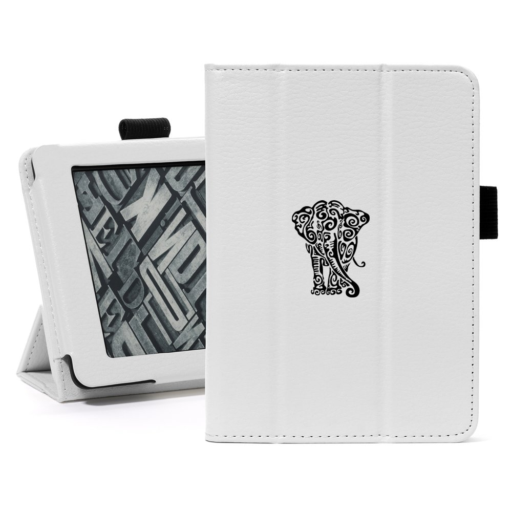 White For Amazon Kindle Paperwhite Leather Magnetic Case Cover Stand Tribal Elephant