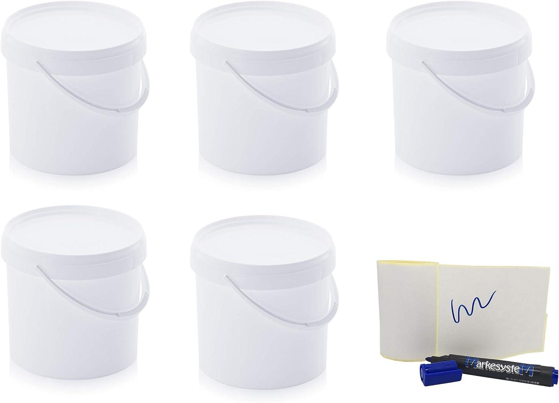 MARKESYSTEM - Cubo HERMÉTICO Pack de 5 x 5,6 litros - Contenedores Apilables de Plástico con Tapa - Envase Alimentos, Catering Industrial, Líquidos y Pinturas - Polipropileno Blanco + Kit Etiquetado