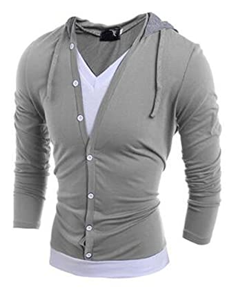 RENXINGLIN Cosy Men Long sleeve Fake Two T Shirt V-Neck Slim T-Shirt
