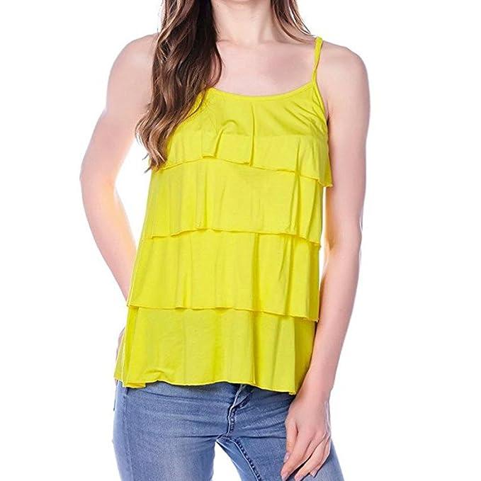 QinMM Camiseta de Mujer Maternidad de Doble Capa, Premamá Blusa sin Mangas Camisas Tops Verano