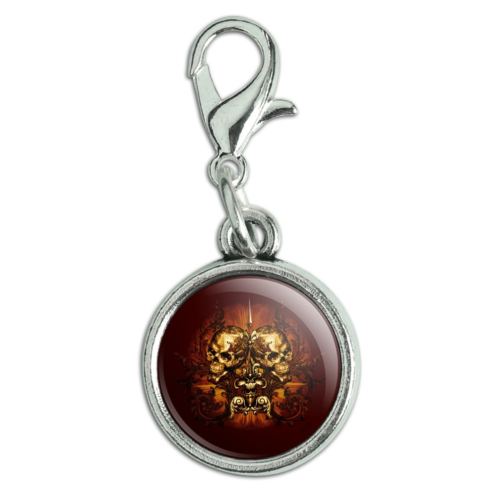 GRAPHICS /& MORE Victorian Skulls Biker Chopper Motorcycle Antiqued Bracelet Pendant Zipper Pull Charm with Lobster Clasp