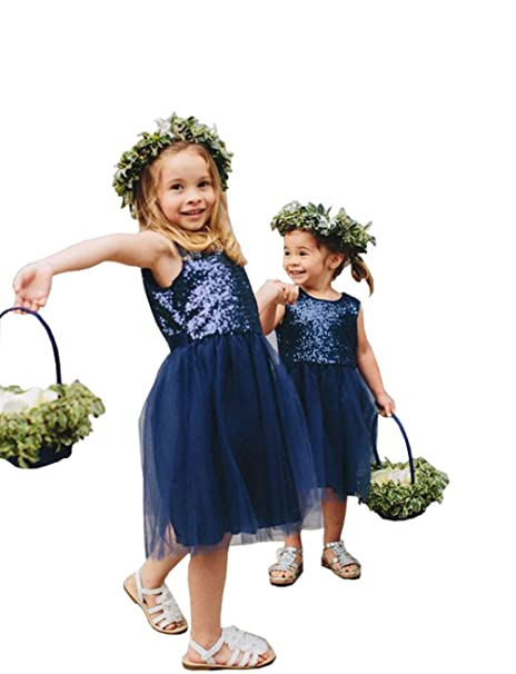 0acd98a22 Fannydress Sequined Lace First Communion Dresses For Toddler Girls Tulle  Jewel Flower Girls Dress Navy Blue