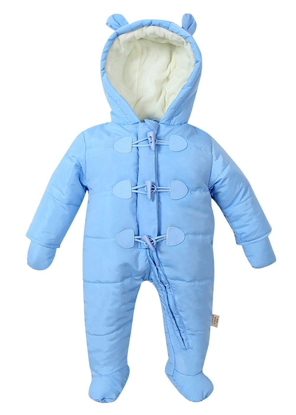 Boys Snowsuit Hooded and Long Sleeve Casual Homewear Toddlers Outfits without Shoes - Blue HAPPY CHERRY