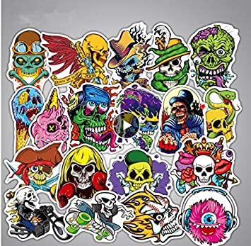 YLGG Cráneo Esqueleto Graffiti Pegatinas de Dibujos Animados ...