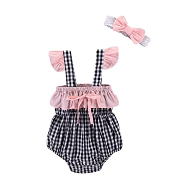 8d2cd5f910f Fineser Baby Girls Romper Infant Plaid Jumpsuit Summer Outfits with  Headband  Clothing