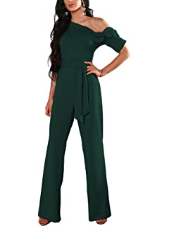 933eb96ee7f Boutiquefeel Women s One Shoulder Solid Jumpsuits Wide Leg Long Romper  Pants with Belt