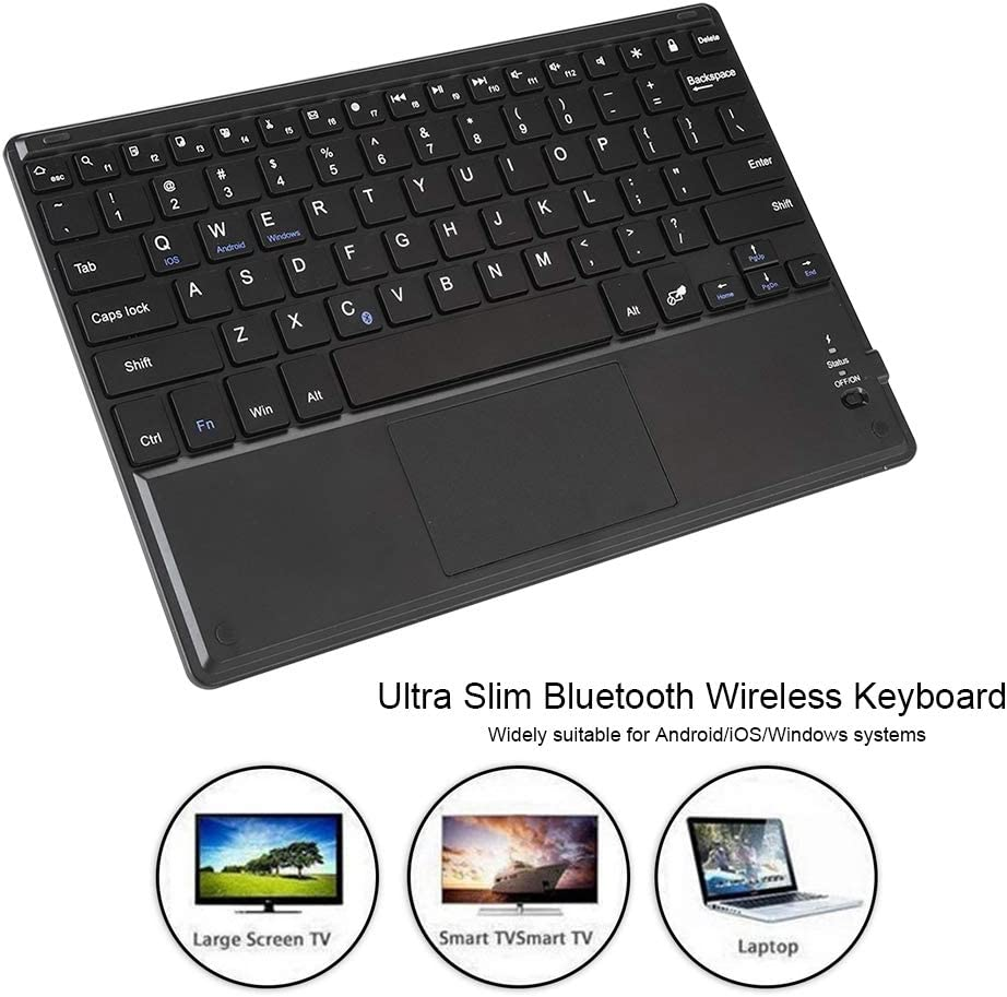 Black Pokerty Bluetooth Keyboard 10-12 Ultra Slim Bluetooth Wireless Keyboard with Touchpad for Android//Windows//iOS Systems