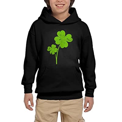 Four Leaf Clover Unisex Hoodies SweatShirts Youth Printed Pocket Tops