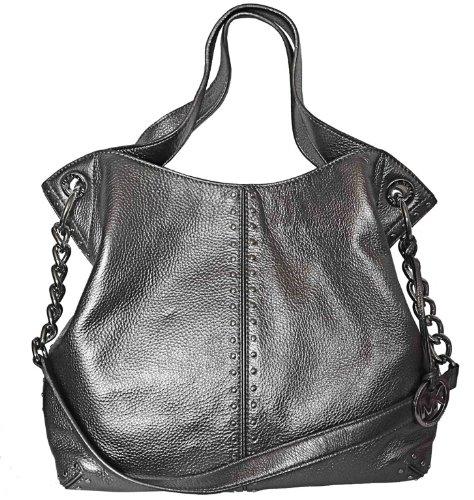 Michael Kors Astor Chain Shoulder Leather Tote Handbag, Large, Gunmetal/ Grey, Bags Central