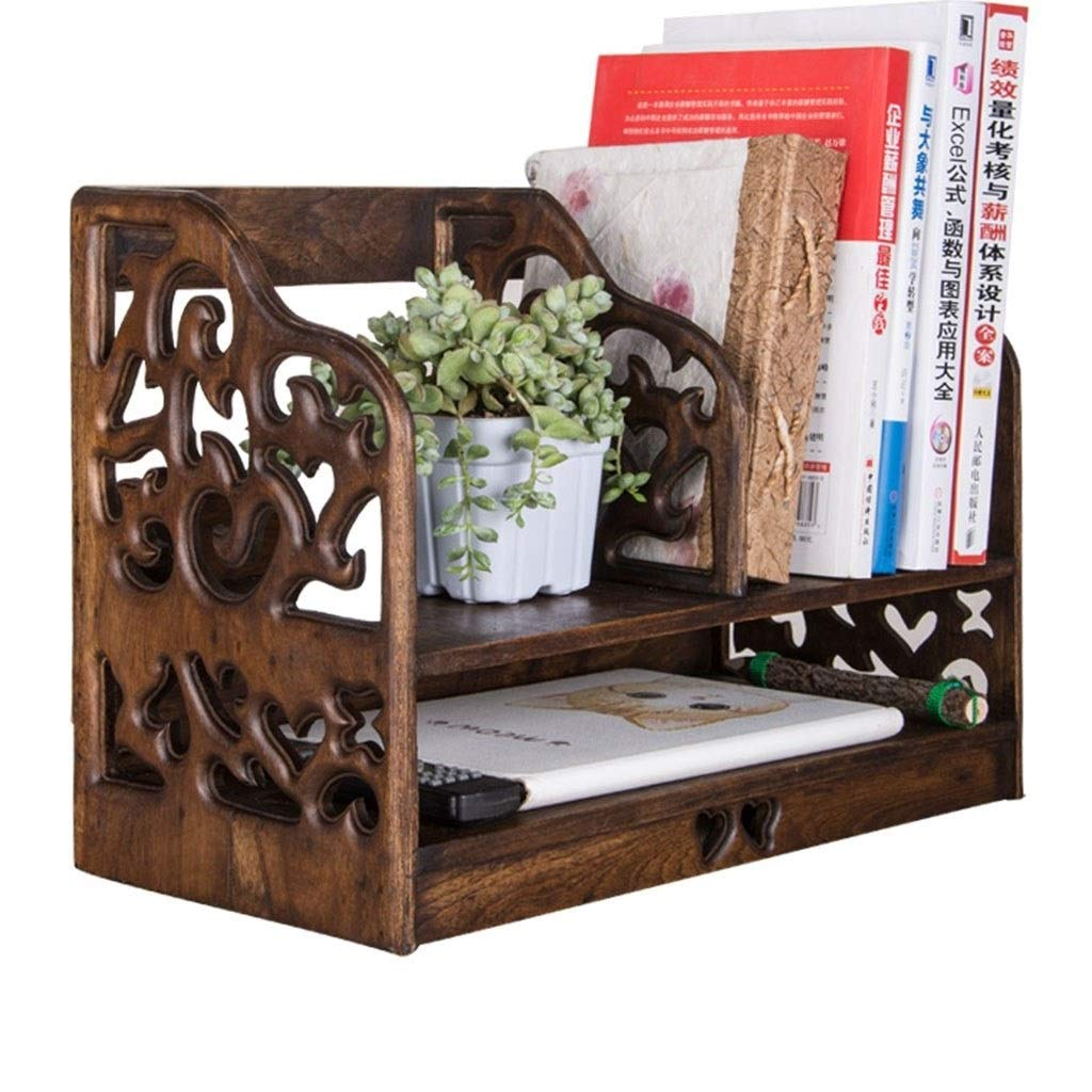 Book Accessories Creative Retro Desktop Storage Rack Rack Table Simple Bookshelf Bookcase Office File Rack (Color : Brown, Size : 412026cm) by Book Stands