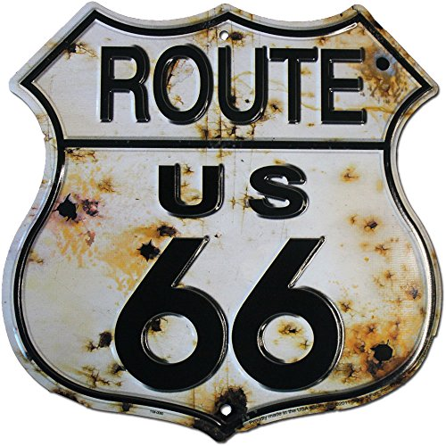 Flagline Route 66 (Bullet Holes) - 11.5 inch x 11.5 inch Aluminum Highway Shield Sign