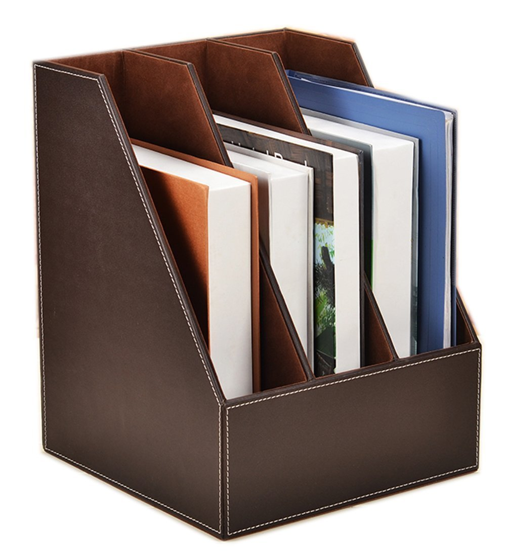 Vertical Style,Leather Magazine Holder Office Desk Organizer File Document Tray Box Bookends Book Stand (Coffee (3 Slot))