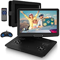 """16.9""""PortableDVDPlayerwith14.1""""HDSwivelScreen,CarDVDPlayerPortable,5HrsRechargeableBattery,MobileDVDPlayerforTravel withCarCharger,CarHeadrestMount,USB/SDCard/SyncTV"""