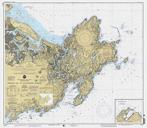Map | Ipswich Bay To Gloucester Harbor, 1998 Nautical NOAA Chart | Massachusetts (MA) | Vintage Wall Art | 44in x ()