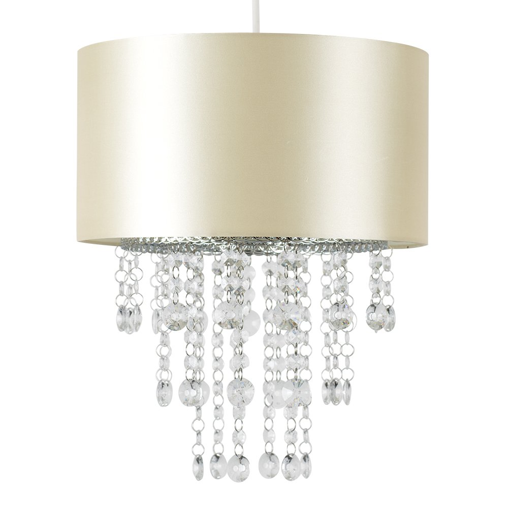 Modern Grey Cylinder Ceiling Pendant Light Shade with Clear Acrylic Jewel Effect Droplets