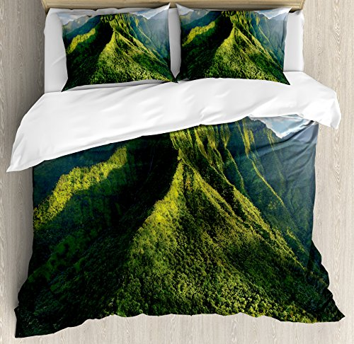 Ambesonne Apartment Decor Duvet Cover Set, Aerial View of Jungle Forest on the Mountains Tropical Exotic Hawaii Nature Look, 3 Piece Bedding Set with Pillow Shams, Queen/Full, Green Blue White by Ambesonne