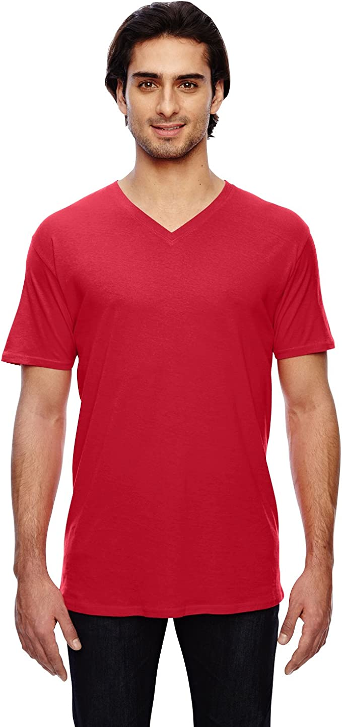 Anvil Featherweight V-Neck Tee 362 Men Light Cotton Loose Fit T-shirt Top T