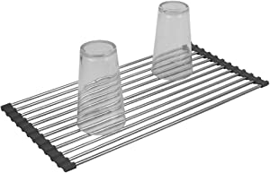 Home Basics Multi-Purpose Flexible Silicone and Stainless-Steel Roll Up Dish Drying Rack, Heat Resistant & Foldable Over the Sink Kitchen Drainer Rack for Cups, Fruits, vegetables, Meat (Grey, 1)