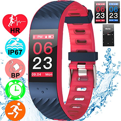 Fitness Tracker Heart Rate Blood Pressure Sleep Monitor IP67 Waterproof Activity GPS Tracker with Caller ID Smartwatch for Women Men Kids 0.96'' Colorful Screen Bracelet Pedometer for iPhone Android by JingStyle