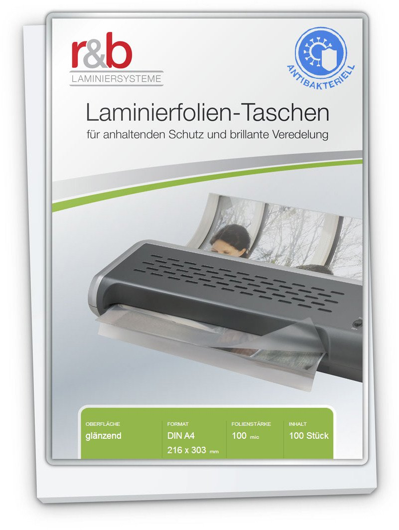 R & B from. Pack of 100Laminating Pouches A4, 216x 303mm, 2x 100Micron, Antibacterial, Pack of 100