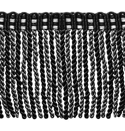 6 Inch Long Bullion Fringe Trim, Style# DB6 - Black, Silver Grey, Sold By the (Conso Bullion Fringe)