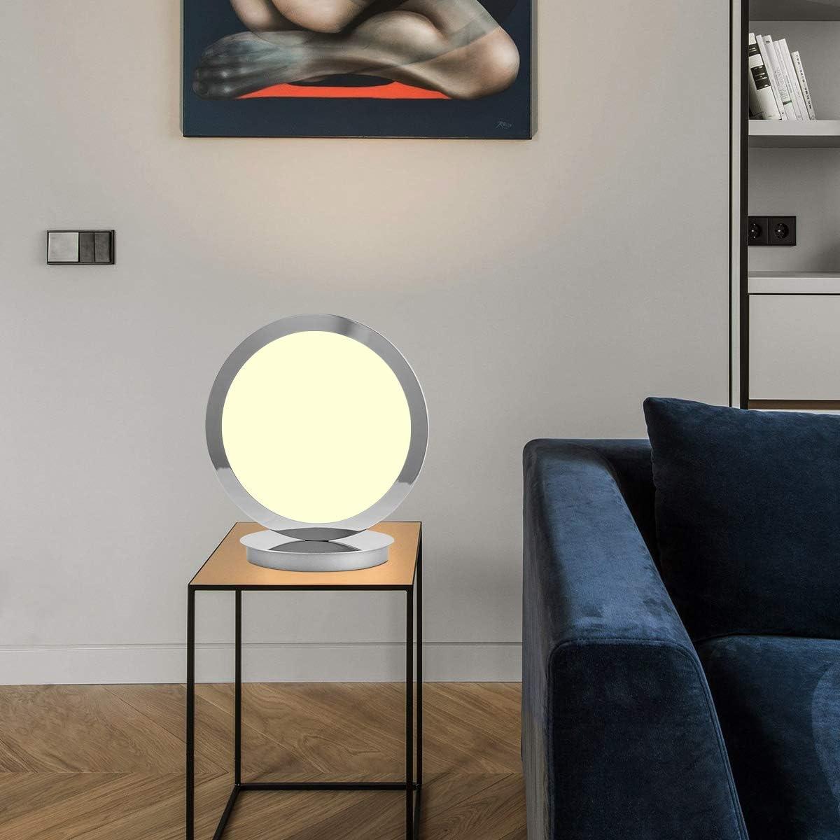 120V 8W 3000K Warmlight LED Modern Table Lamp, Contemporary LED Desk lamp for Living Room, Bedroom, Dressing Room, Reading Room, Office Chrome Finish Class A Energy-Saving