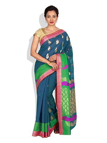 b4de441ef8 Platinum Cotton Silk Saree in Green With Blouse Piece: Amazon.in: Clothing  & Accessories