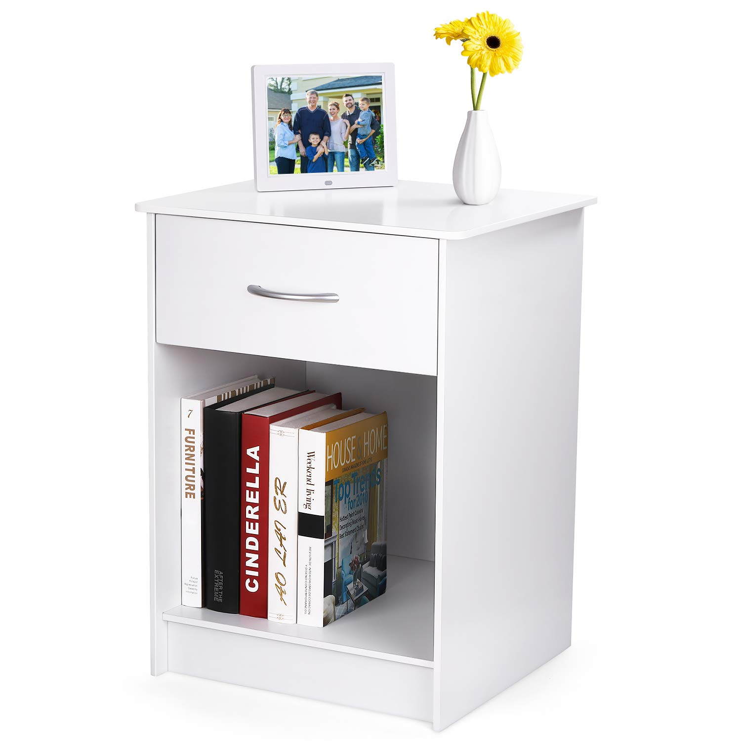 INTEY White Nightstand, Bedside Table with Drawer and Storage Shelf, End Table for Bedroom Living Room Home Furniture by INTEY