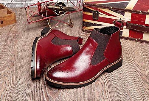 Pelle Nuovo Uomini Corto Confortevole Rosso Britannico Scarpone Primavera Scarpe Casuale Stivali Stivali Chelsea qYIYRr