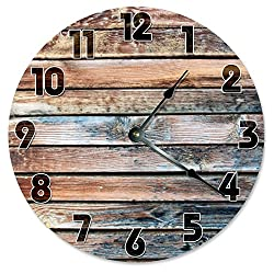 OLD BARN WOOD Clock Large 10.5 Wall Clock Decorative Round Circle Clock Home Decor Novelty Clock PRINTED WOOD IMAGE