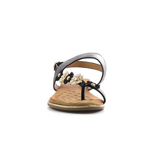 Unbekannt Lunar - Flaches Sandale in der Marine mit Blume für Frauen durch Lunar - Größe 38 - Schwarz 7bJcZ