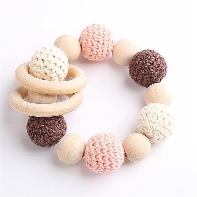 Baby Teether Beads DIY Wooden Rings Crochet Set Diy Nursing Teething Necklace Set Eco Baby New Baby Accessories Nursing Teether