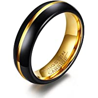 Starryinter Tungsten Black Wedding Band Ring 6mm for Men Women Gold Center Line and Inside 14K Gold Plated Polished-R461