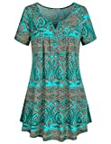 vintage clothing patterns - SeSe Code Womens Flattering Tops, Female Short Sleeve Long Tunic Botton Decoration Front Drapes Vintage Paisley Pattern Knit Fabric Pull Over Soft Surroundings Womens Clothing Green XXX-Large