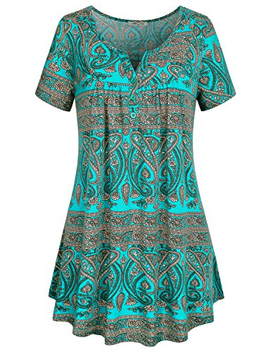 SeSe Code Womens Flattering Tops, Female Short Sleeve Long Tunic Botton Decoration Front Drapes Vintage Paisley Pattern Knit Fabric Pull Over Soft Surroundings Womens Clothing Green - Vintage Paisley Blouse