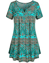 Women's Crewneck Button-up Ruched Short Sleeve Tunic Shirt