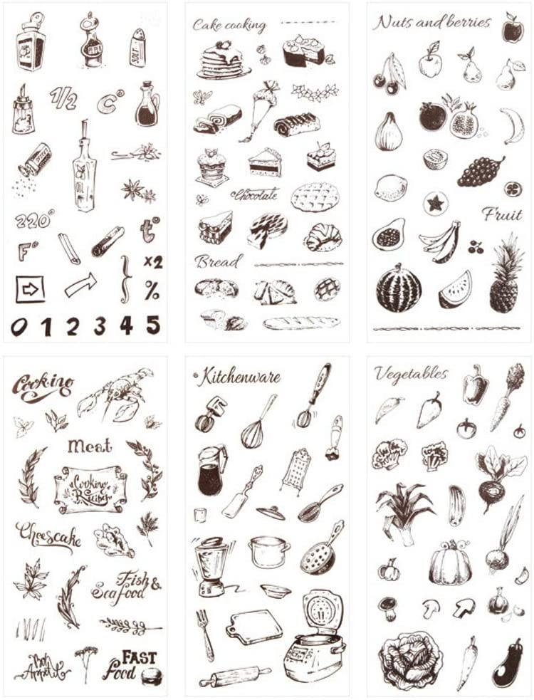 3 Set(18 Sheet) Kitchen Stuff Kitchenware Cooking Tool Cake Bread Food Fruit Vegetables Stationery Sticker Scrapbooking Journal Diary DIY Label Craft Stickers for Kids Boys Girls (Food)